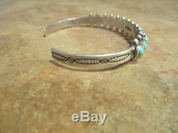 SPLENDID Vintage Navajo Sterling Silver SNAKE EYE Turquoise Row Bracelet