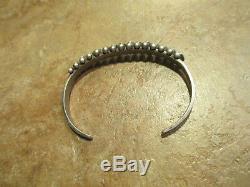 SPLENDID Vintage Zuni Sterling Silver PETIT POINT Turquoise Row Bracelet