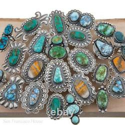 SQUASH BLOSSOM Necklace Pendant Fire Mountain Turquoise Native American Handmade