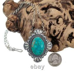 SQUASH BLOSSOM Necklace Pendant Turquoise Sterling Silver ROBERT JOHNSON Old Stl