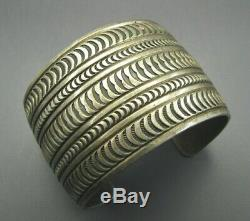 STUNNING Old Pawn VINTAGE STERLING SILVER Wide Cuff Bracelet PATINATED STAMPED
