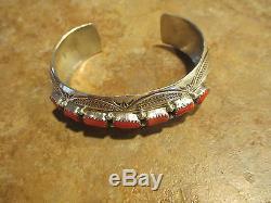 SUPERB Vintage Navajo Sterling Silver RED OXBLOOD CORAL Row Cuff Bracelet