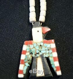 Santo Domingo Indian Pueblo Depression Era Thunderbird Pendant Necklace