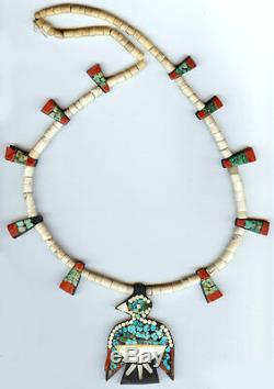 Santo Domingo Vintage Turquoise And Mixed Materials Thunderbird Necklace