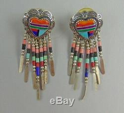 Set of 4 Sterling Navajo&Zuni Sterling Earrings&Pin/Pendant Signed Bennett, Q. T