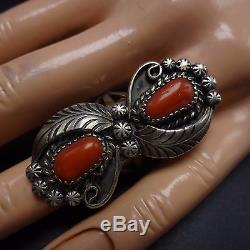Signed Vintage NAVAJO Hand Stamped Sterling Silver & CORAL RING, size 8