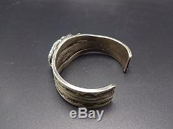 Signed Vintage NAVAJO Heavy Hand Stamped Sterling Silver TURQUOISE Cuff BRACELET