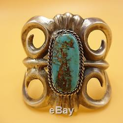 Signed Vintage NAVAJO Heavy Sand Cast Sterling Silver & TURQUOISE Cuff BRACELET