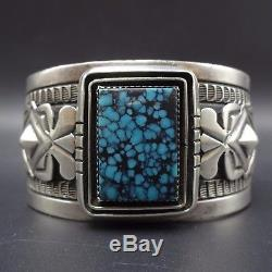Signed Vintage NAVAJO Sterling Silver & Lone Mountain TURQUOISE BRACELET 118g