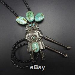 Signed Vintage NAVAJO Sterling Silver & TURQUOISE Kachina BOLO Tie, Leather Cord