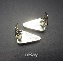 Signed Vintage NAVAJO Sterling Silver & TURQUOISE Triangle EARRINGS Clip-On