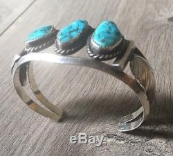 Signed Vintage Navajo Kingman Turquoise & Sterling Silver Row Cuff Bracelet