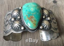 Signed/stamped Old Heavy Vintage Navajo Royston Turquoise & Sterling Bracelet