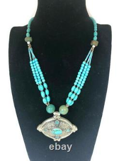 Silver Turquoise Sterling Necklace Vintage Native American Jewelry Old Ethnic