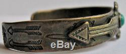 Small Child / Baby Vintage Navajo Indian Sterling Turquoise Arrows Cuff Bracelet