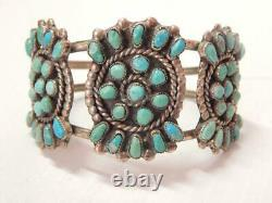 Solid Antique Vintage Pawn Navajo Indian Sterling Silver Turquoise Cuff Bracelet
