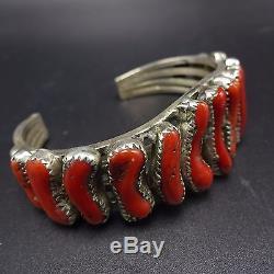 Spectacular Vintage NAVAJO Sterling Silver & Old Red Med CORAL Cuff BRACELET