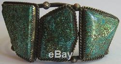 Spectacular Vintage Navajo Indian Silver Big Stones Spiderweb Turquoise Bracelet