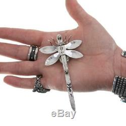 Squash Blossom DRAGONFLY Brooch Joe Eby Sterling Silver Pin Old Vintage Style