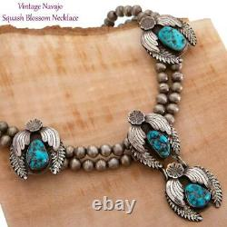 Squash Blossom Necklace Kingman Turquoise Sterling Silver Old Pawn Vintage 18in