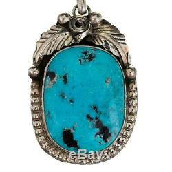 Squash Blossom Necklace Navajo KINGMAN Turquoise Old Pawn Sterling Silver SET