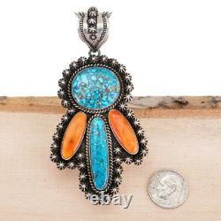 Squash Blossom Necklace Pendant ANGEL KACHINA Turquoise Sterling Silver KINGMAN