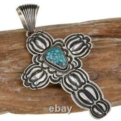 Squash Blossom Necklace Pendant CROSS Turquoise Navajo Native American Old Style