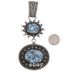 Squash Blossom Necklace Pendant Calvin Martinez GOLDEN HILL Turquoise Spiderweb