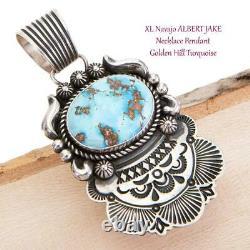 Squash Blossom Necklace Pendant GOLDEN HILL Turquoise ALBERT JAKE Navajo BIG XL