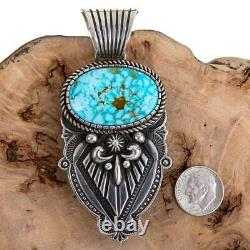 Squash Blossom Necklace Pendant KINGMAN Turquoise ALBERT JAKE Native American
