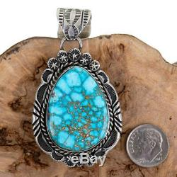 Squash Blossom Necklace Pendant KINGMAN Turquoise Spiderweb Native American A+