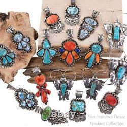 Squash Blossom Necklace Pendant SONROAN GOLD Turquoise ALBERT JAKE Navajo BIG XL