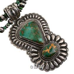 Squash Blossom Necklace ROYSTON Turquoise Navajo Pearls DARRYL BECENTI SET A++