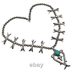 Squash Blossom Necklace Rare #8 Turquoise Sterling Silver Old Pawn Vintage
