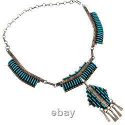 Squash Blossom Necklace Turquoise Sterling Silver Old Pawn ZUNI Needlepoint
