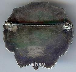 Striking Vintage Navajo Indian Silver Red Petrified Wood Pin Brooch