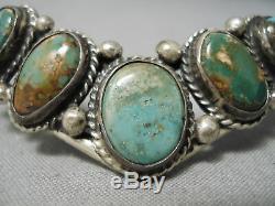 Striking Vintage Navajo Royston Turquoise Sterling Silver Bracelet Old