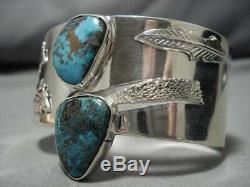 Striking Vintage Navajo Turquoise Sterling Silver Native American Bracelet Old