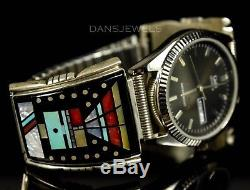 Stunning Old PAWN Navajo Vintage Sterling Mens INLAY Turquoise Watch Bracelet