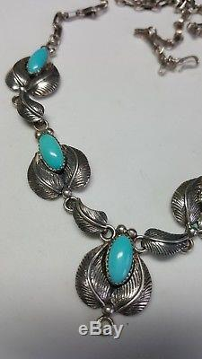 Stunning Vintage Navajo Signed Sterling Silver Turquoise Necklace