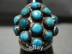 Stunning Vintage Navajo Snake Eyes Turquoise' Silver Ring Old Jewelry