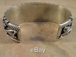 Stunning Vintage Pawn Sterling Silver Cuff Bracelet 2.80 oz (men's sz.)