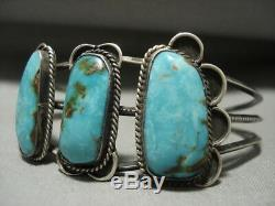 Stunning Wide Vintage Navajo Royston Turquoise Silver Bracelet Old Jewelry