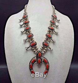 Superb Vintage NAVAJO Sterling Silver & Old Red Coral SQUASH BLOSSOM Necklace
