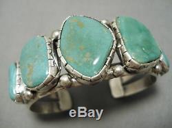 Superior Vintage Navajo Bill Slim Royston Turquoise Sterling Silver Bracelet