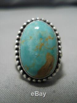 Superior Vintage Navajo Domed Royston Turquoise Sterling Silver Ring