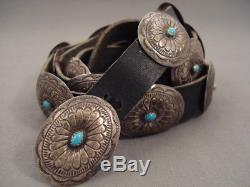 Superior Vintage Navajo Hand Wrought Silver Turquoise Concho Belt Old