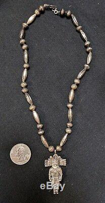 Superior Vintage Navajo Sterling Silver Kachina Bench Bead Necklace Old Pawn Nr