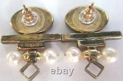 TRICIA'S Sterling Silver Genuine Opal & Pearl Vintage Earrings