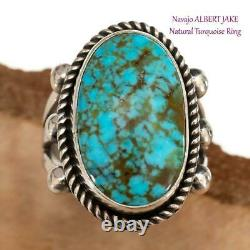 TURQUOISE RING Spiderwebbed Sterling Silver ALBERT JAKE 7.75 Native American